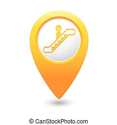 Map pointer with escalator icon