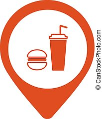 Map pointer with fast food icon. Vector isolated location sign.
