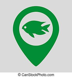 Map pointer with fish icon on grey background.