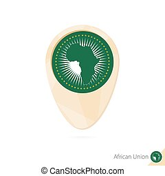 Map pointer with flag of African Union. Orange abstract map icon.