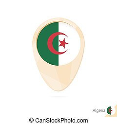 Map pointer with flag of Algeria. Orange abstract map icon.