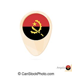 Map pointer with flag of Angola. Orange abstract map icon.