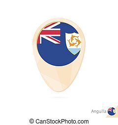Map pointer with flag of Anguilla. Orange abstract map icon.