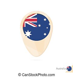 Map pointer with flag of Australia. Orange abstract map icon.