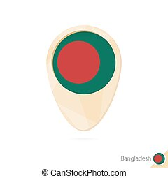 Map pointer with flag of Bangladesh. Orange abstract map icon.