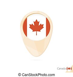Map pointer with flag of Canada. Orange abstract map icon.