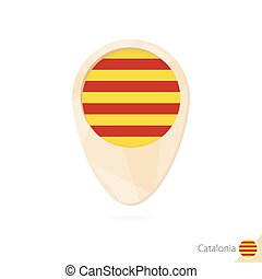 Map pointer with flag of Catalonia. Orange abstract map icon.