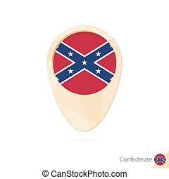 Map pointer with flag of Confederate. Orange abstract map icon.