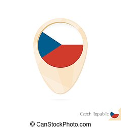 Map pointer with flag of Czech Republic. Orange abstract map icon.
