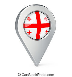 Map pointer with flag of Georgia, 3D rendering