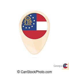 Map pointer with flag of Georgia. Orange abstract map icon.
