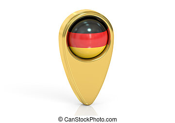 map pointer with flag of Germany, 3D rendering
