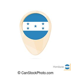 Map pointer with flag of Honduras. Orange abstract map icon.