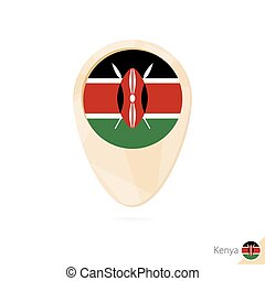 Map pointer with flag of Kenya. Orange abstract map icon.