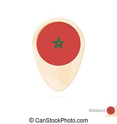 Map pointer with flag of Morocco. Orange abstract map icon.