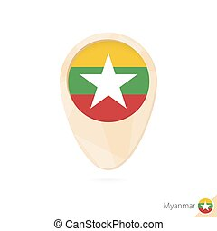 Map pointer with flag of Myanmar. Orange abstract map icon.