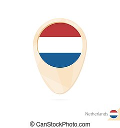 Map pointer with flag of Netherlands. Orange abstract map icon.