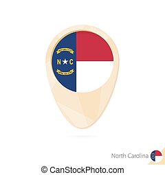 Map pointer with flag of North Carolina. Orange abstract map icon.