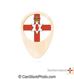 Map pointer with flag of Northern Ireland. Orange abstract map icon.