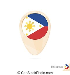 Map pointer with flag of Philippines. Orange abstract map icon.