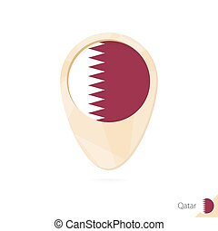 Map pointer with flag of Qatar. Orange abstract map icon.