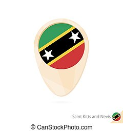 Map pointer with flag of Saint Kitts and Nevis. Orange...