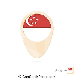 Map pointer with flag of Singapore. Orange abstract map icon.
