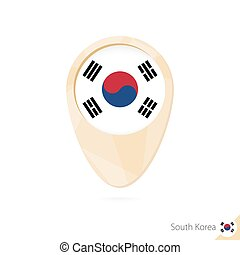 Map pointer with flag of South Korea. Orange abstract map icon.