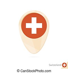 Map pointer with flag of Switzerland. Orange abstract map icon.