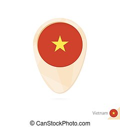Map pointer with flag of Vietnam. Orange abstract map icon.