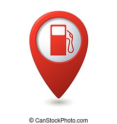 Map pointer with gas station icon