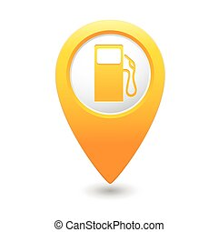 Map pointer with gas station icon.