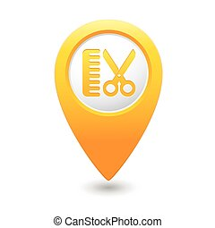 Map pointer with hair salon icon