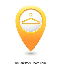 Map pointer with hanger icon.