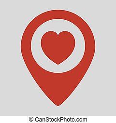 Map pointer with heart icon on grey background.