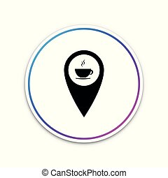 Map pointer with hot coffee cup icon isolated on white background. Circle white button. Vector Illustration