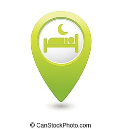 Map pointer with hotel icon