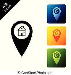 Map pointer with house icon isolated. Home location marker symbol. Set icons colorful square buttons. Vector Illustration