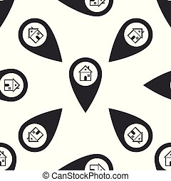 Map pointer with house icon seamless pattern on white background. Home location marker symbol. Flat design. Vector Illustration