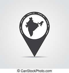 Map pointer with India map on a gray background. Vector illustration
