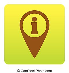 Map pointer with information sign. Vector. Brown icon at green-yellow gradient square with rounded corners on white background. Isolated.