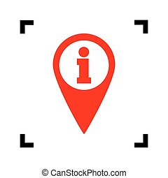 Map pointer with information sign. Vector. Red icon inside black focus corners on white background. Isolated.