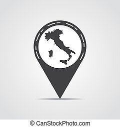 Map pointer with Italy map on a gray background. Vector illustration