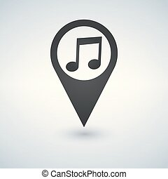 Map pointer with note icon in flat design. For location maps. Sign for navigation. Index location on map. Vector isolated illustration.