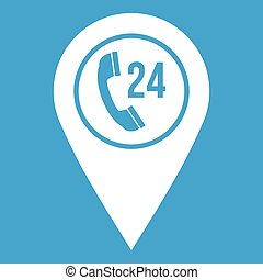 Map pointer with phone handset icon white