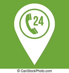 Map pointer with phone handset icon green