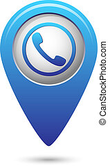 Map pointer with phone handset icon