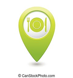 Map pointer with restaurant icon