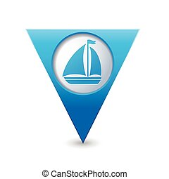 Map pointer with sailboat icon