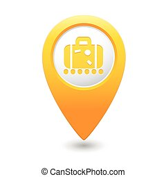 Map pointer with suitcase icon